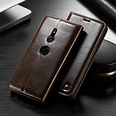 Недорогие Чехлы и кейсы для Sony-CaseMe Кейс для Назначение Sony Xperia XZ2 Кошелек / Бумажник для карт / со стендом Чехол Однотонный Твердый Кожа PU для Xperia XZ2