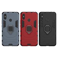 Недорогие Чехлы и кейсы для Xiaomi-Кейс для Назначение Xiaomi Xiaomi Mi Max 3 Защита от удара / Кольца-держатели Кейс на заднюю панель Однотонный / броня Твердый ПК для Xiaomi Mi Max 3