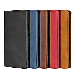 Недорогие Чехлы и кейсы для Sony-Кейс для Назначение Sony Xperia Xperia Z5 / Xperia XZ2 Premium Кошелек / Бумажник для карт / со стендом Чехол Однотонный Твердый Кожа PU для Sony Xperia Z5 / Xperia XZ2 / Sony Xperia XZ2 Premium