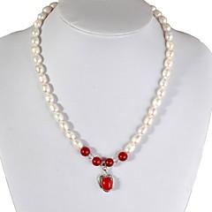 abordables Bijoux pour Femme-Rouge Agate Cœur Collier - Perle Cœur Luxe, Rétro / Vintage, Mode Blanc Pour Soirée / Fête Cadeau Femme