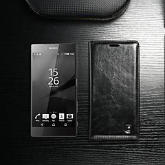 Недорогие Чехлы и кейсы для Sony-CaseMe Кейс для Назначение Sony Xperia Z5 Кошелек / Бумажник для карт / со стендом Чехол Однотонный Твердый Кожа PU для Sony Xperia Z5