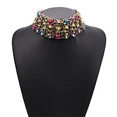 preiswerte Halsketten-Damen Mehrschichtig Halsketten - Strass damas, Modisch Gelb, Regenbogen, Transparent 30+12 cm Modische Halsketten Schmuck 1pc Für Alltag, Festival