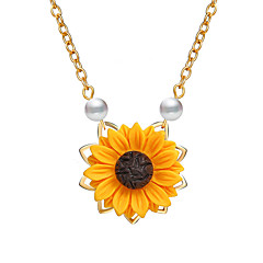 preiswerte Halsketten-Damen Klassisch Anhängerketten - Künstliche Perle Blume, Bühnenlicht vielfarbig Einfach, Natur, Süß Cool, lieblich Gold, Silber, Rotgold 48 cm Modische Halsketten Schmuck 1pc Für Geburtstag, Alltag