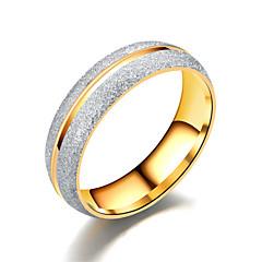 preiswerte Ringe-Paar Weiß Kubikzirkonia Ring - Titanstahl, Rostfrei, Diamantimitate Stern Einfach, Luxus, Klassisch 6 / 7 / 8 / 9 / 10 Gold / Weiß Für Geschenk Alltag Verabredung