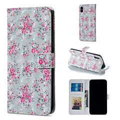 Недорогие Кейсы для iPhone 5-Кейс для Назначение Apple iPhone XR / iPhone XS Max Кошелек / Бумажник для карт / со стендом Чехол Цветы Твердый Кожа PU для iPhone XS / iPhone XR / iPhone XS Max