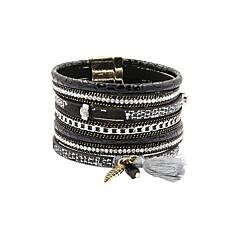 preiswerte Armbänder-Damen Mehrschichtig Lederarmbänder - Klassisch Armbänder Schmuck Schwarz / Blau / Rosa Für Geschenk Alltag