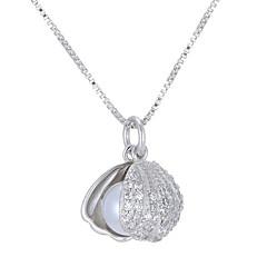 preiswerte Halsketten-Damen Kubikzirkonia Klassisch Anhängerketten - Künstliche Perle Hülle Zierlich, Einfach Cool Silber 46 cm Modische Halsketten Schmuck 1pc Für Hochzeit, Verlobung