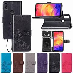Недорогие Чехлы и кейсы для Xiaomi-Кейс для Назначение Xiaomi Redmi Note 7 Кошелек / Бумажник для карт / Флип Чехол Цветы Мягкий Кожа PU для Redmi Note 7