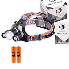 お買い得  ヘッドランプ-U'King ヘッドランプ 自転車用ヘッドライト LED LED 3 エミッタ 3000 lm 3 4.0 照明モード バッテリー付き ズーム可能, 焦点調整可, 小型 キャンプ / ハイキング / ケイビング, 日常使用, サイクリング
