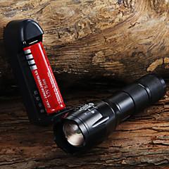お買い得  携帯式フラッシュライト-LED懐中電灯 LED LED 1 エミッタ 1600 lm 3 照明モード バッテリー&チャージャー付き ズーム可能, 焦点調整可 キャンプ / ハイキング / ケイビング, 日常使用, サイクリング