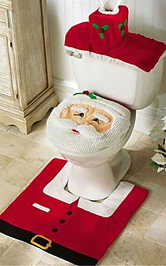 رخيصةأون -سانتا ثلج الغزلان الروح غطاء مقعد المرحاض سجادة الحمام مجموعة مع غطاء منشفة ورقية لعيد الميلاد هدية ديكورات المنزل العام الجديد
