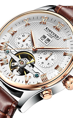 cheap -KINYUED Men's Skeleton Watch Wrist Watch Mechanical Watch Japanese Automatic self-winding Leather Black / Brown 30 m Water Resistant / Waterproof Calendar / date / day Chronograph Analog Luxury