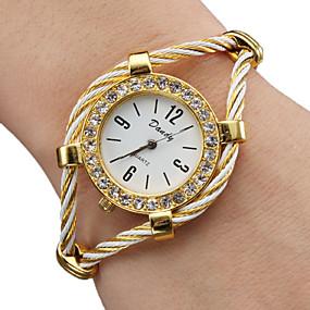 billige Smykker & Ure-Dame Damer Modeur Armbåndsur Diamond Watch Quartz Guld Analog Glitrende Armring - Guld Et år Batteri Levetid / SSUO 377