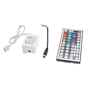Недорогие RGB контроллеры-zdm 44 key ir пульт дистанционного управления для светодиодных индикаторов rgb с dc5.5x2.1 соединительной линией dc12v