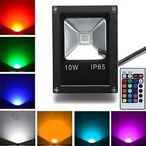 Недорогие LED прожекторы-1шт 10 W 800 lm 1 Светодиодные бусины Высокомощный LED На пульте управления RGB 85-265 V
