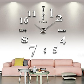 tanie Grupowe zakupy-bezramowe duży zegar ścienny diy, nowoczesne 3d zegar ścienny z lustrem naklejki numery do dekoracji wnętrz biura