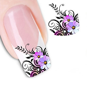 cheap Makeup & Nail Care-1 pcs 3D Nail Stickers Water Transfer Sticker nail art Manicure Pedicure Flower / Abstract / Fashion Daily