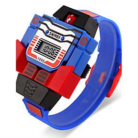 voordelige Merk Horloge-SKMEI Heren Polshorloge Kwarts Rubber Blauw / Rood / Grijs Kalender LCD Digitaal Cartoon - Geel Rood Blauw Twee jaar Levensduur Batterij / Maxell626 + 2025