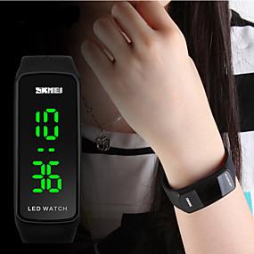 voordelige Merk Horloge-SKMEI Dames Sporthorloge Modieus horloge Digitaal Silicone Zwart / Blauw / Rood Kalender LED Digitaal Zilver Rood Blauw