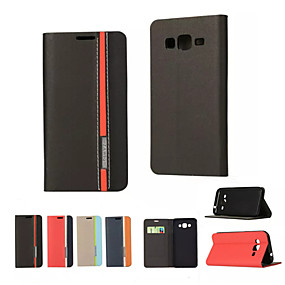 voordelige Galaxy J1 Hoesjes / covers-hoesje Voor Samsung Galaxy On 5 / J7 / J5 Kaarthouder / met standaard / Flip Volledig hoesje Effen PU-nahka
