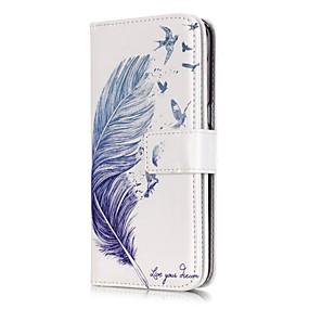 voordelige Galaxy S7 Edge Hoesjes / covers-hoesje Voor Samsung Galaxy S7 edge / S7 / S6 edge Portemonnee / Kaarthouder / met standaard Veren