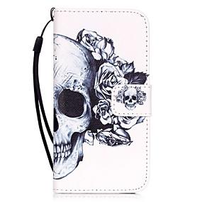 ราคาถูก เคสสำหรับ iPhone-Case สำหรับ Apple iPhone X / iPhone 8 / iPhone 7 Card Holder / Pattern ตัวกระเป๋าเต็ม กระโหลก Hard หนัง PU สำหรับ iPhone X / iPhone 8 Plus / iPhone 8