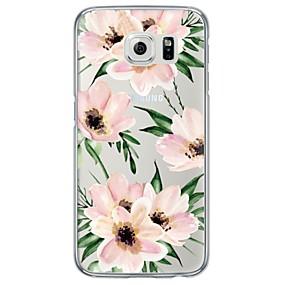voordelige Galaxy S7 Edge Hoesjes / covers-hoesje Voor Samsung Galaxy S7 edge / S7 / S6 edge plus Ultradun / Doorzichtig Achterkant Bloem Zacht TPU