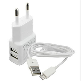 billige Lader med kabel-Stasjonær lader / Bærbar lader USB-lader Eu Plugg Lader Kitt / Flere porter 2 USB-porter 2.1 A til