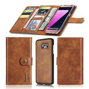 voordelige Galaxy S7 Edge Hoesjes / covers-hoesje Voor Samsung Galaxy S7 edge / S7 Portemonnee / Kaarthouder / Origami Volledig hoesje Effen Hard aitoa nahkaa