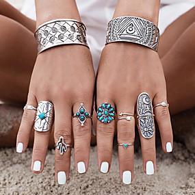 billige Turkis-Dame Turkis geometriske Ring Turkis Legering Blomst damer Personalisert Uvanlig Unikt design Vintage Bohemsk Motering Smykker Sølv Til Fest Daglig Avslappet 7