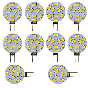 baratos Luminárias de LED  Duplo-Pin-levou lâmpada g4 rodada car marine campista rv luz em casa 9 smd 5730 120 graus 12-24 v dc / ac (10 peças)