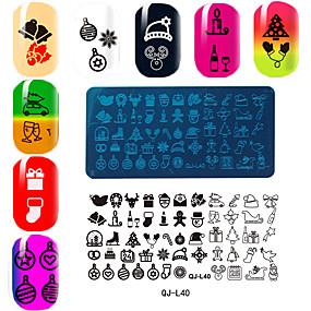 voordelige Nagelstempels-rechthoekige plaat manicure printing template Kerstmis serie