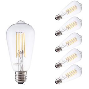 Χαμηλού Κόστους Λαμπτήρες LED με νήμα πυράκτωσης-GMY® 6pcs 4 W LED Λάμπες Πυράκτωσης 450 lm E26 / E27 ST58 4 LED χάντρες COB Με ροοστάτη Διακοσμητικό Θερμό Λευκό 220-240 V / 6 τμχ / RoHs