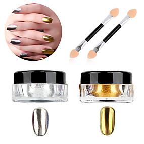 cheap Makeup & Nail Care-1g box nail polish treatment glitter powder sliver gold glitter nail art chrome pigment