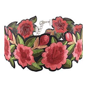 billige Blomstersmykker-Dame Choker Halskjede Blomst damer Asiatisk Mote Euro-Amerikansk Tøy Rød Halskjeder Smykker 1pc Til Fest