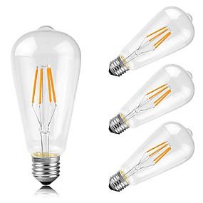 Χαμηλού Κόστους Λαμπτήρες LED με νήμα πυράκτωσης-4pcs 4 W LED Λάμπες Πυράκτωσης 400 lm E26 / E27 ST64 4 LED χάντρες COB Διακοσμητικό Θερμό Λευκό 220-240 V / 4 τμχ / RoHs