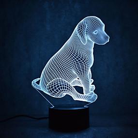 billige Gavelys-1 stk 3D natlys Usb Vandtæt / Sensor / Dæmpbar LED / Moderne Moderne