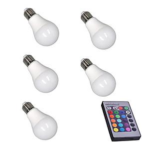 billige LED-smartpærer-5pcs 5 W Smart LED-lampe 400 lm E26 / E27 A60(A19) 15 LED Perler SMD 5050 Dæmpbar Fjernstyret Dekorativ RGBW 85-265 V / RoHs