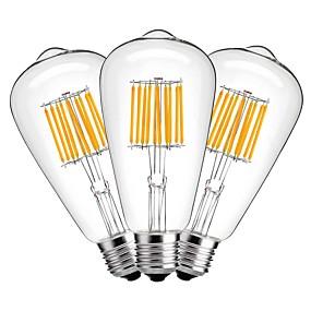 Χαμηλού Κόστους Λαμπτήρες LED με νήμα πυράκτωσης-3pcs 10 W LED Λάμπες Πυράκτωσης 1000 lm E27 ST64 10 LED χάντρες COB Διακοσμητικό Θερμό Λευκό 220-240 V / 3 τμχ
