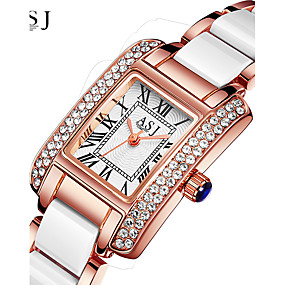 voordelige Merk Horloge-ASJ Dames Luxueuze horloges Polshorloge Diamond Watch Japans Kwarts Keramiek Zilver / Goud Rose 30 m Waterbestendig Creatief Analoog Dames Glitter - Zilver Goud Rose Een jaar Levensduur Batterij