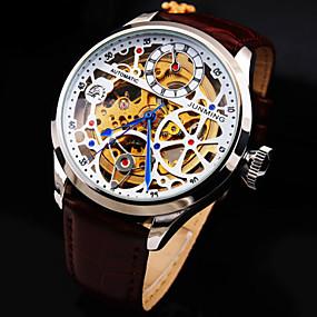 voordelige junming-Heren Skeleton horloge mechanische horloges Automatisch opwindmechanisme Echt leer Hol Gegraveerd Waterbestendig Analoog Dames Luxe - Zwart bruin / Wit