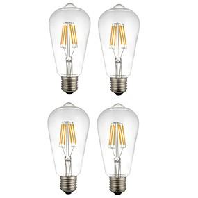 Χαμηλού Κόστους Λαμπτήρες LED με νήμα πυράκτωσης-4pcs 6 W LED Λάμπες Πυράκτωσης 560 lm E26 / E27 ST64 6 LED χάντρες COB Διακοσμητικό Θερμό Λευκό Άσπρο 220-240 V / RoHs