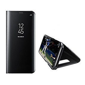 voordelige Galaxy S6 Edge Plus Hoesjes / covers-hoesje Voor Samsung Galaxy S8 Plus / S8 / S7 edge met standaard / Spiegel / Auto Slapen / Ontwaken Volledig hoesje Effen Hard PU-nahka