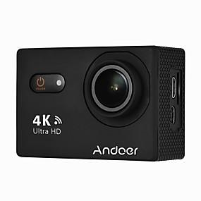 billige Kamera, Billede, Video & Tilbehør-andoer an9000 4k 16mp wifi action sport kamera 1080p fhd 2 berøringsskærm 170 vidvinkel linse med hard case support 4x zoom vandtæt 40m