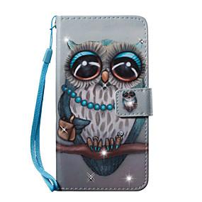 voordelige Galaxy S7 Hoesjes / covers-hoesje Voor Samsung Galaxy S7 edge / S7 / S6 edge Portemonnee / Kaarthouder / Strass Volledig hoesje Uil Hard PU-nahka