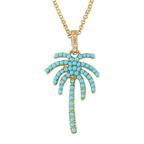 levne Šperky&Hodinky-Dámské Náhrdelníky s přívěšky Kokosový strom Jednoduchý Základní Imitace turmalínu Slitina Zlatá Náhrdelníky Šperky Pro Denní Rande
