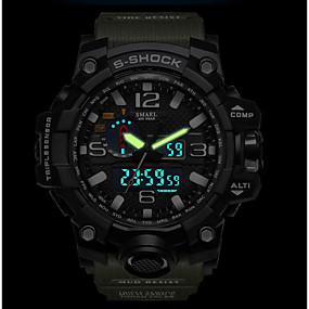 voordelige Merk Horloge-SMAEL Heren Sporthorloge Militair horloge Digitaal horloge Japans Silicone Zwart / Rood / Orange 50 m Waterbestendig Kalender Chronograaf Analoog-Digitaal Informeel Modieus - Donkergroen Zwart