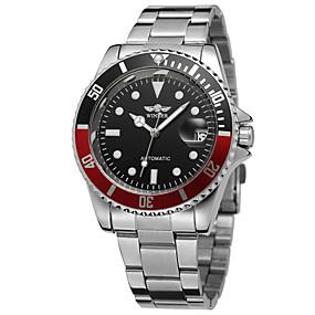 זול שעוני מותגים-WINNER בגדי ריקוד גברים שעונים יום יומיים שעוני אופנה שעון יד אוטומטי נמתח לבד מתכת אל חלד כסף 30 m לוח שנה אנלוגי וינטאג' יום יומי - כחול /  לבן שחור / לבן שחור / כחול