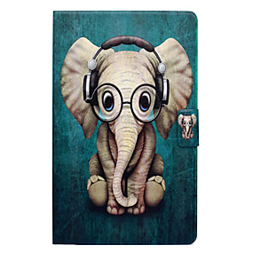 billige Tablettilbehør-Etui Til Amazon Kindle Fire 7(5th Generation, 2015 Release) Kortholder / Med stativ / Flip Fuldt etui Elefant Hårdt PU Læder for Kindle Fire 7(5th Generation, 2015 Release)