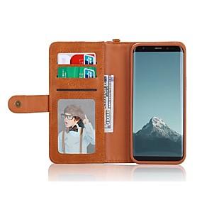 voordelige Galaxy S7 Hoesjes / covers-hoesje Voor Samsung Galaxy S8 Plus / S8 / S7 edge Portemonnee / Kaarthouder / Schokbestendig Volledig hoesje Effen Kleur Hard PU-nahka